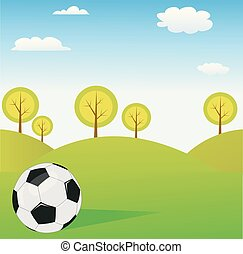 vetorial, primavera, bola futebol, fundo