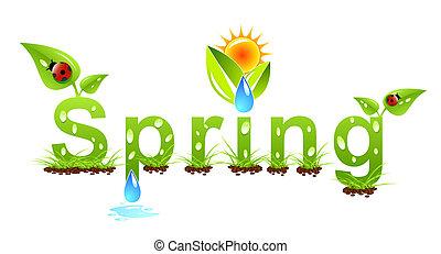 vetorial, primavera, palavra, conceito