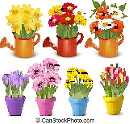 vetorial, primavera, pots., grande, verão, flores, cobrança, coloridos