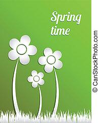 vetorial, primavera, time., conceito, illustration.