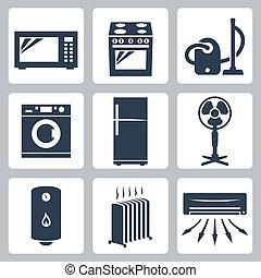 vetorial, principal, eletrodomésticos, ícones, jogo