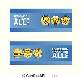 vetorial, programa, jogo, letra, pilhas, students., apple., all., macho, graduado, frasco, cap., livros, vial., femininas, tinta, bandeiras, educação, illustration.