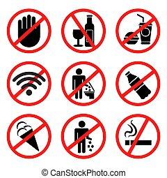 vetorial, proibido, illustration., signs.