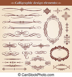 vetorial, projete elementos, calligraphic