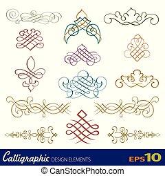 vetorial, projeto fixo, elementos, calligraphic