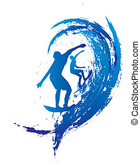 vetorial, projeto gráfico, pacífico, surfista