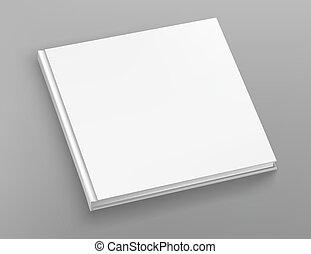 vetorial, quadrado, escarneça, livro hardcover, cinzento, tabela., branca, álbum, cima