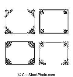 vetorial, quadrado, quadro, etiquetas, jogo, ornamental, vindima, decoração