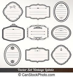 vetorial, quadro, etiquetas, jogo, ornamental