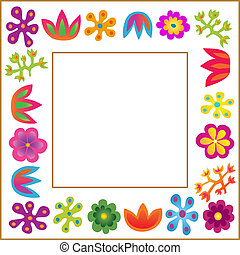 vetorial, quadro, flores