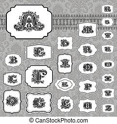 vetorial, quadro, jogo, letra, ornate