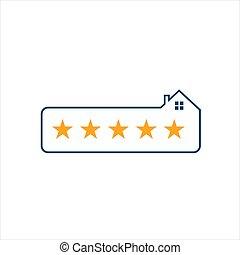 vetorial, qualidade, estrelas, 5, logotipo, estrela, lar, desenho, cinco, prêmio, ilustração
