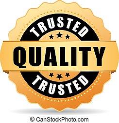 vetorial, qualidade, trusted, selo ouro