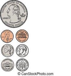 vetorial, quarto, centavo, níquel, moeda dez centavos