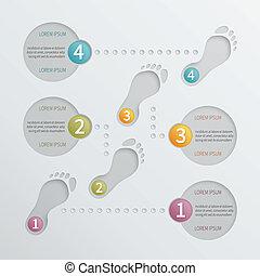 vetorial, quatro, infographic, passos, perfurado, template.