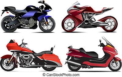 vetorial, quatro, modernos, ilustração, motorcycle.
