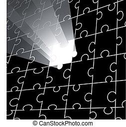 vetorial, quebra-cabeça, desenho