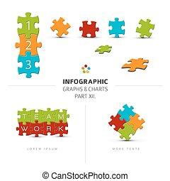 vetorial, quebra-cabeça, elementos, seu, infographics