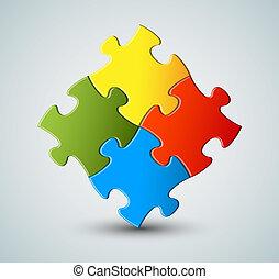 vetorial, quebra-cabeça, /, solução, fundo