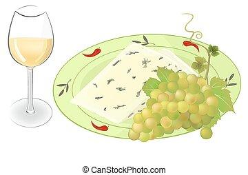 vetorial, queijo, uvas, vinho