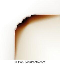 vetorial, queimado, papel, bordas, branco, fundo