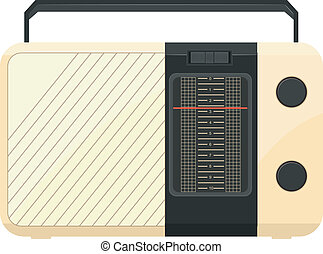 vetorial, rádio, portátil, ilustração
