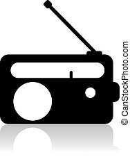 vetorial, rádio, silueta, ícone