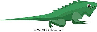 vetorial, réptil, iguana/wild, cor, ilustração, iguana/, verde, rastejar, ou, iguana