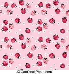 vetorial, róseo, fundo, pattern., baga vermelha, pálido, ...