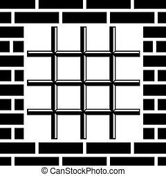 vetorial, ralar, prisão, janela, pretas, símbolo