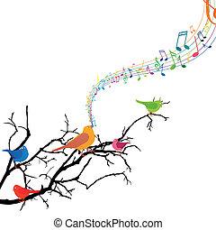 vetorial, ramo, com, cantando, pássaros
