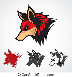 vetorial, raposa, vermelho