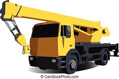 vetorial, realístico, caminhão, ilustração, isolado, guindaste