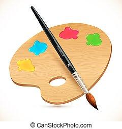vetorial, realístico, isolado, pincel, e, madeira, paleta