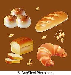 vetorial, realístico, jogo, pão, ícones