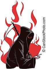vetorial, reaper, severo, ilustração