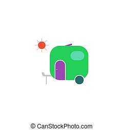 vetorial, reboque, ícone