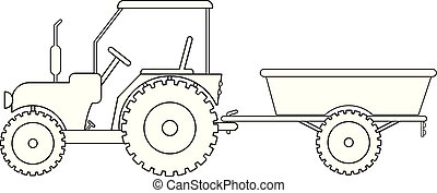 vetorial, reboque trator, desenho
