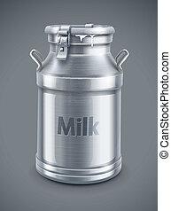 vetorial, recipiente, lata, leite