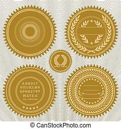 vetorial, recompensa, selos