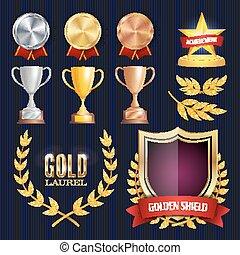 vetorial, recompensas, e, troféus, collection., dourado, emblemas, e, labels., campeonato, design., 1º, 2º, 3rd, place., dourado, prata, bronze, achievement., vazio, emblema, medalha, blank.