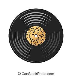 vetorial, (record), ilustração, disco, vinil, branca, estoque