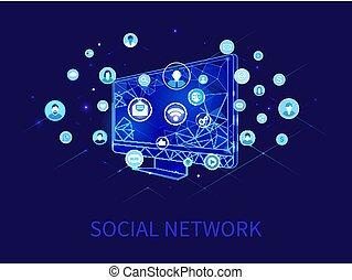 vetorial, rede computador, perfis, social