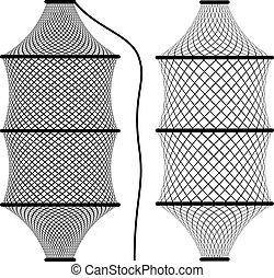vetorial, rede de pescar, gaiola, armadilha, fyke