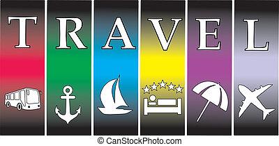 vetorial, relaxante, viagem férias