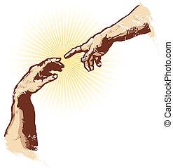 vetorial, religião, criação, ilustração, mãos