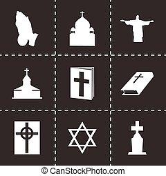 vetorial, religião, jogo, pretas, ícones