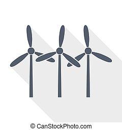 vetorial, renovável, desenho, vento, apartamento, ícone, ...