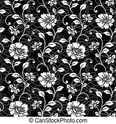 vetorial, repetindo, floral, e, padrão redemoinho