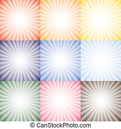 vetorial, representa, diferente, jogo, cor-de-rosa, coloridos, sol, sol, céu, cobrança, semelhante, laranja, cores, raios, contra, fundo, gráfico, amarela, seasons., vermelho, azul